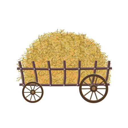 Wooden four-wheel cart with hay. Vector illustration