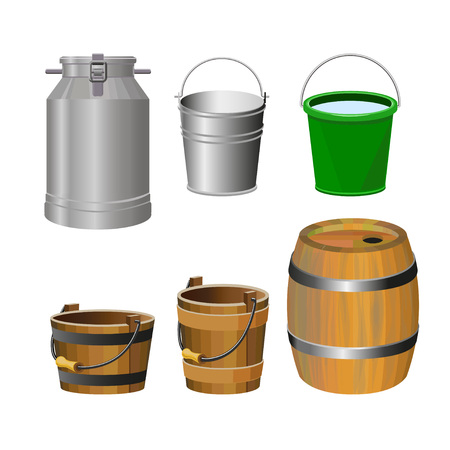 rural wooden bucket: Containers for food and liquids. Vector illustration