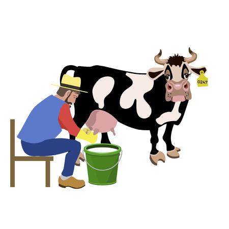 Farmer milking a cow. Vector illustration Illustration