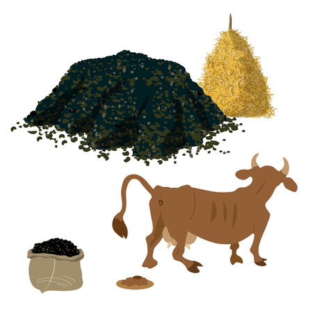 Cow shits. Vector illustration for farming