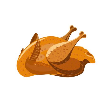 Roasted chicken. Vector illustration