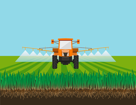 sprinkle: Tractor watering field. Vector illustration