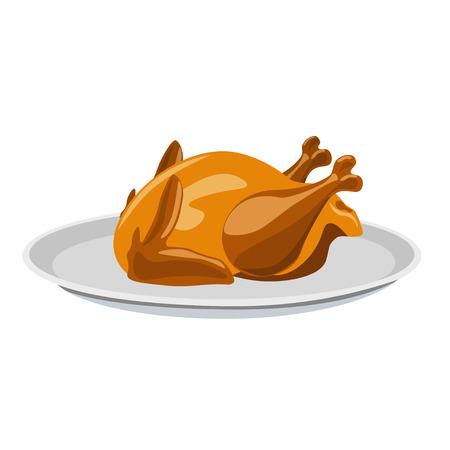 Geroosterde kip op een bord. Vector illustratie Vector Illustratie