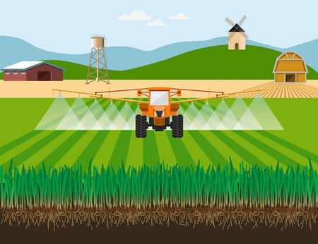 Tractor watering field. Vector illustration