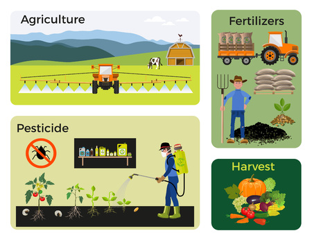 Agriculture and farming. Collection of vector illustrations for infographics Çizim