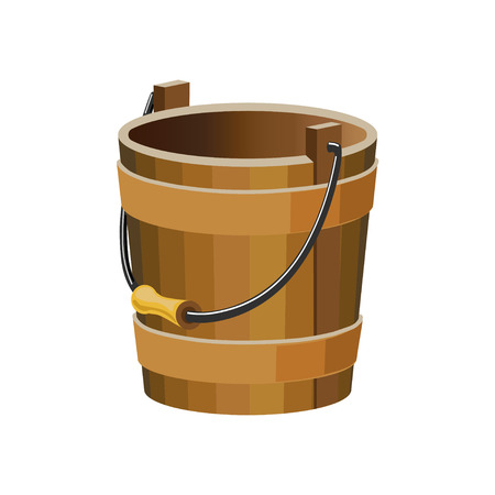 Vector wooden bucket on white background