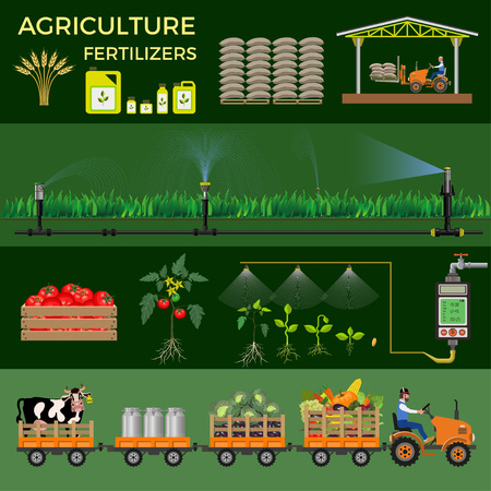 Agriculture and farming. Collection of vector illustrations for infographics