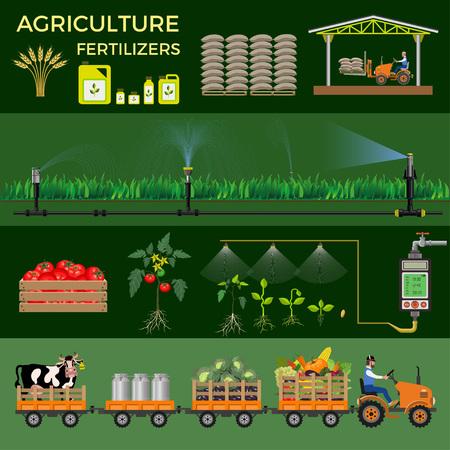 L'agriculture et l'agriculture. Collection d'illustrations vectorielles pour infographies