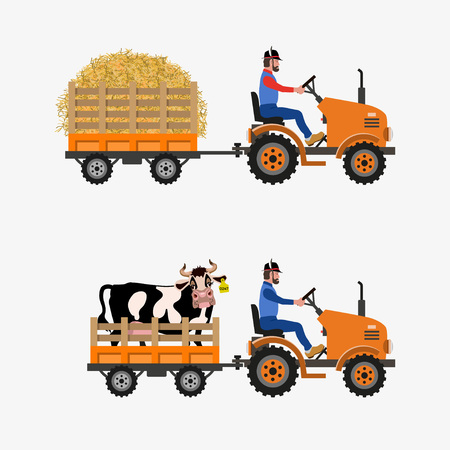 Vector farm tractor with trolley