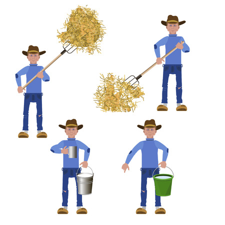 Set of vector farmers with tools in various positions Illustration