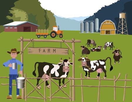 Milk farm. Vector illustration