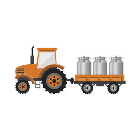Tractor with trailer transporting milk churns. Vector illustration