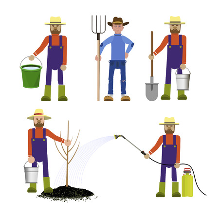 Set of vector farmers with tools in various positions Çizim
