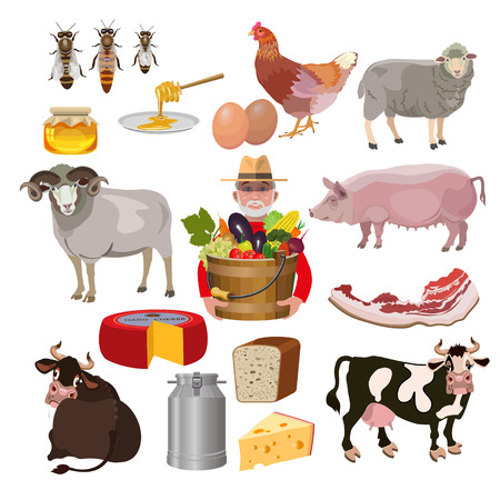 Set of vector farm animals Illustration