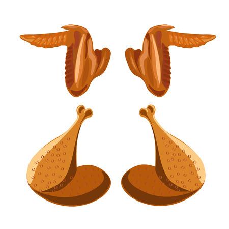 Cosce e ali di pollo fritto