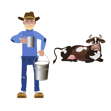 Milkman holding cup and bucket with milk. Vector illustration Illustration