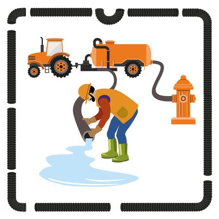 Camión de vacío. Vertidos de agua. ilustración vectorial Foto de archivo - 73111916