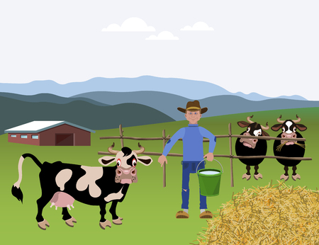 Milk farm. Rural landscape. Vector illustration Illustration