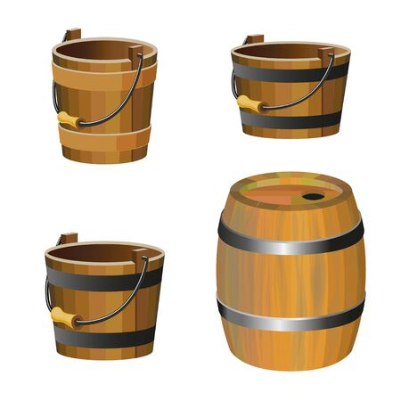 strapping: Set of vector wooden buckets on white background Illustration