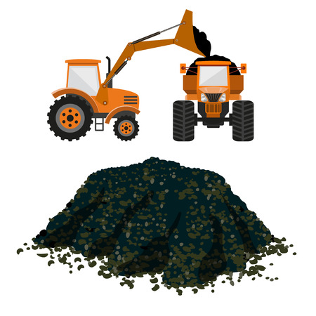 Vector loader and tipper. Pile of soil