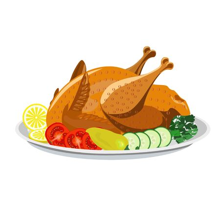 Roasted chicken with vegetables on the plate. Illustration