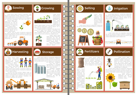 labranza: The main steps for agricultural practices. Vector infographics Vectores