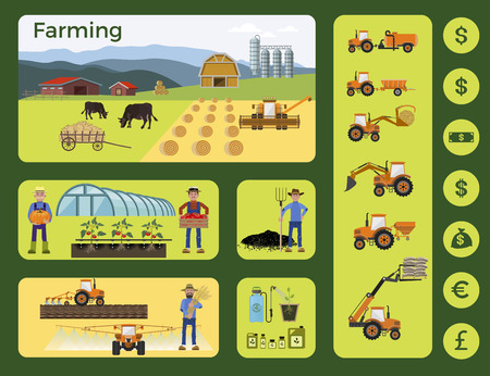 labranza: Agriculture and farming. Collection of vector illustrations and icons for infographics