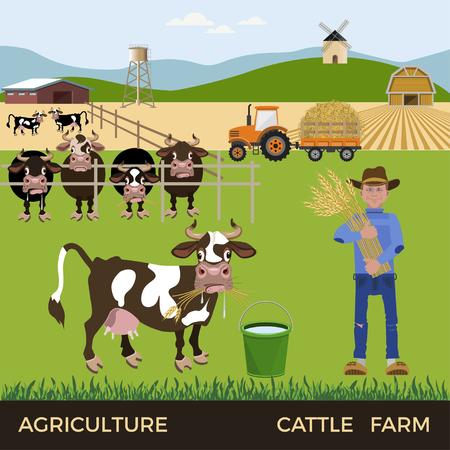 Cattle farm. Vector illustration Illustration