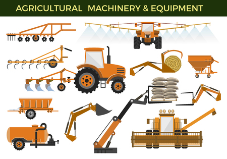 Set of vector agricultural machinery and equipment