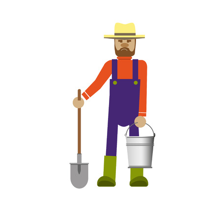 hand stand: Farmer with a shovel and bucket Illustration