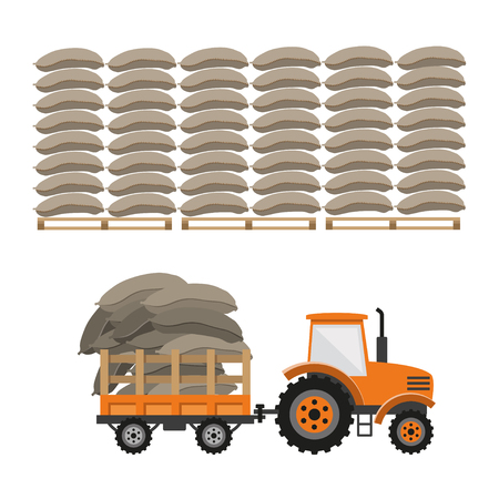 Tractor with trailer transporting bags. Vector illustration