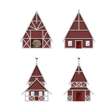 veranda: Set of farm buildings. Vector illustration