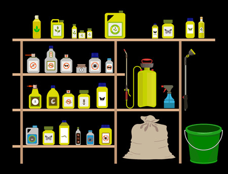 Vector items for gardening, agriculture and farming: pesticide, toxic chemicals and fertilizers Illustration