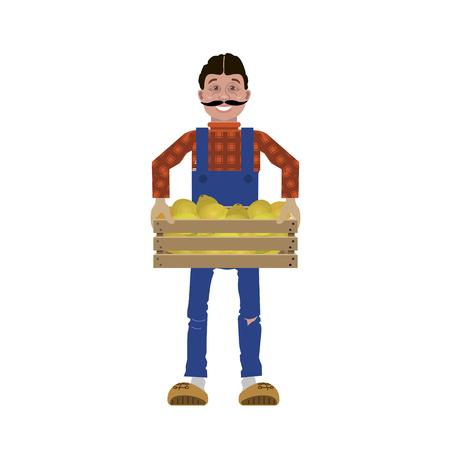 Farmer in overalls holding wooden crate. Vector illustration Illustration
