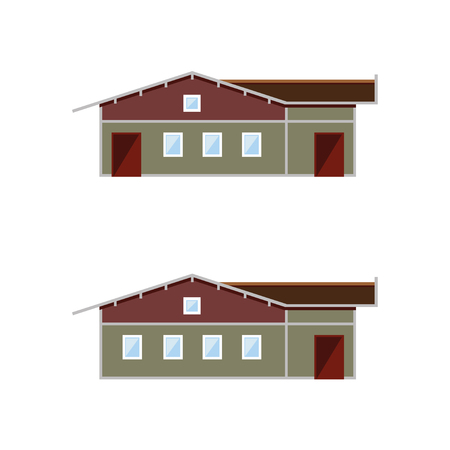 veranda: Different facades of brick house. Vector illustration Illustration