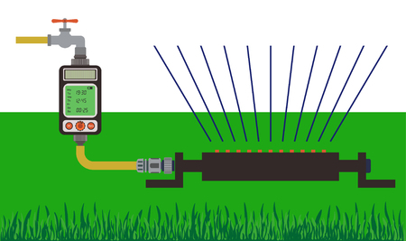 spattering: Lawn watering using water timer. Vector illustration