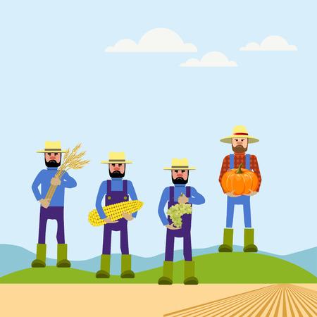 Four farmers holding vegetables. Vector illustrations Illustration