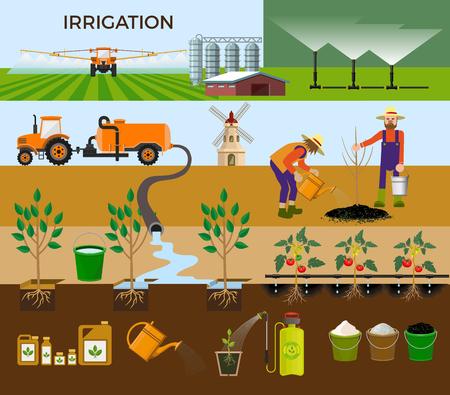 Set of vector illustrations for irrigation.