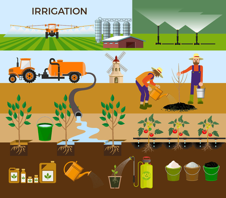 seedlings: Set of vector illustrations for irrigation.