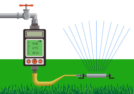 Lawn watering using water timer. Vector illustration