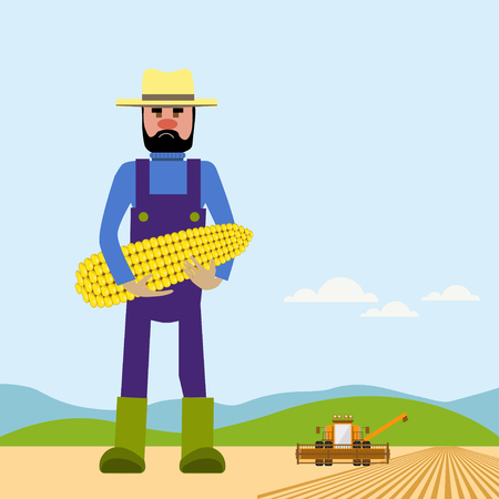 paysage: Farmer holding corn. Vector illustration