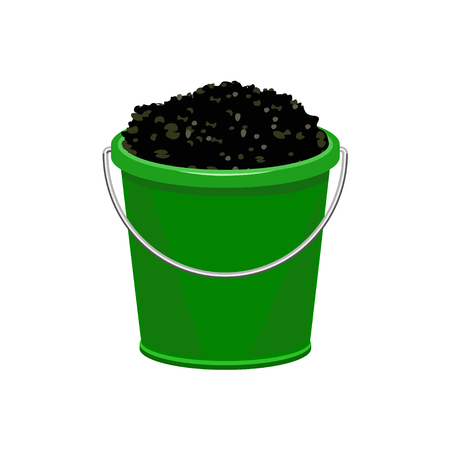 Plastic bucket to the ground. Vector illustration