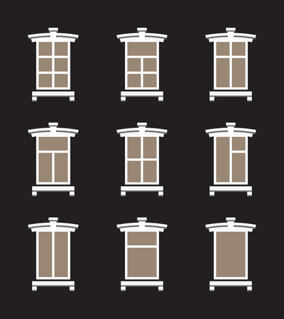 Set of vector windows in flat style