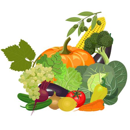 Conjunto de verduras frescas. Ilustración del vector Vectores