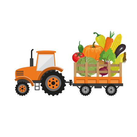 Tractor farm with vegetables vector illustration Illustration