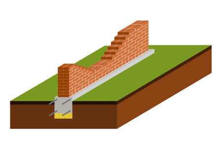 Isometric view of brick wall with foundation