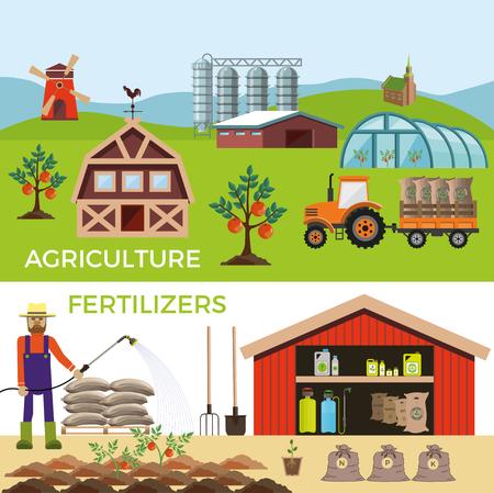 bag of soil: Vector illustrations for agricultural and fertilizer. Infographics Illustration