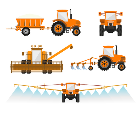 Set of vector agricultural machinery