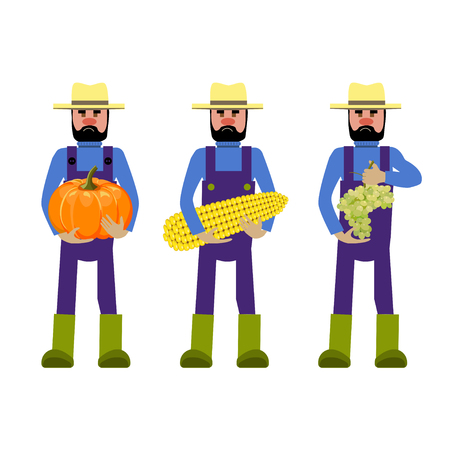 agrarian: Set of vector farmers with vegetables and grapes