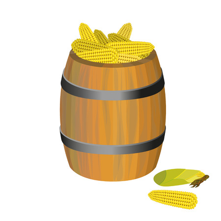 Wooden barrel with corn. Vector illustration Illustration